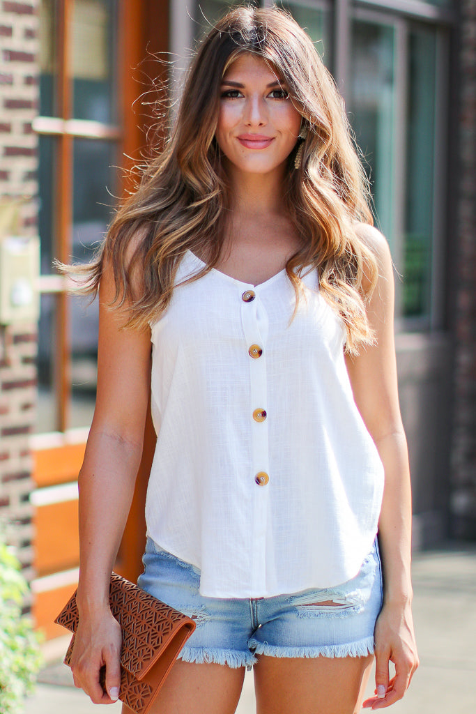 S / White Best Chance Woven Button Top - Madison + Mallory