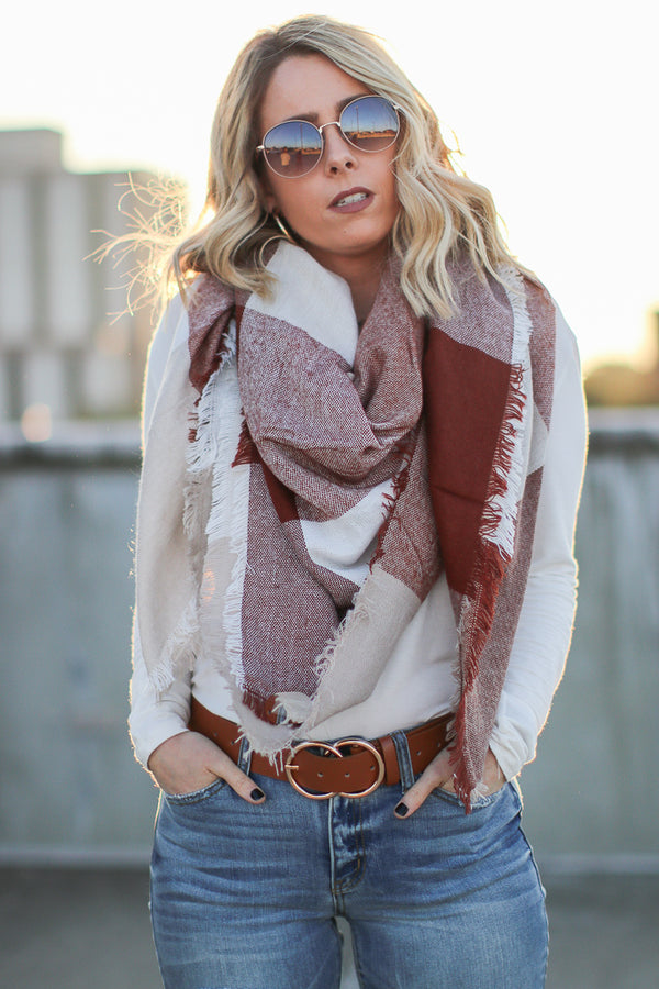 Brown Keeping It Cozy Plaid Scarf + MORE COLORS - FINAL SALE - Madison + Mallory