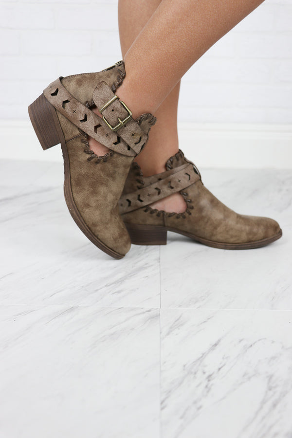 6 / Brown/Washed Distressed Cutout Booties - FINAL SALE - Madison + Mallory