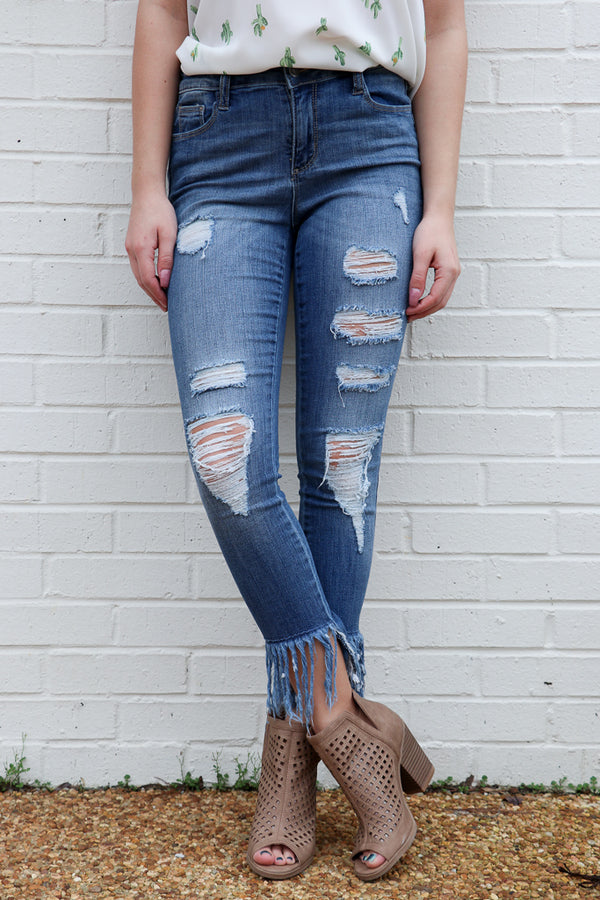 1 / Dark Blue Aria Fringe Skinnies - FINAL SALE - Madison + Mallory