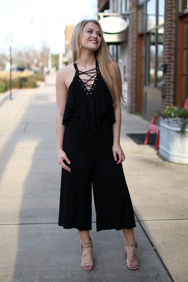 S / Black Lace Up Ruffle Jumpsuit - FINAL SALE - Madison + Mallory