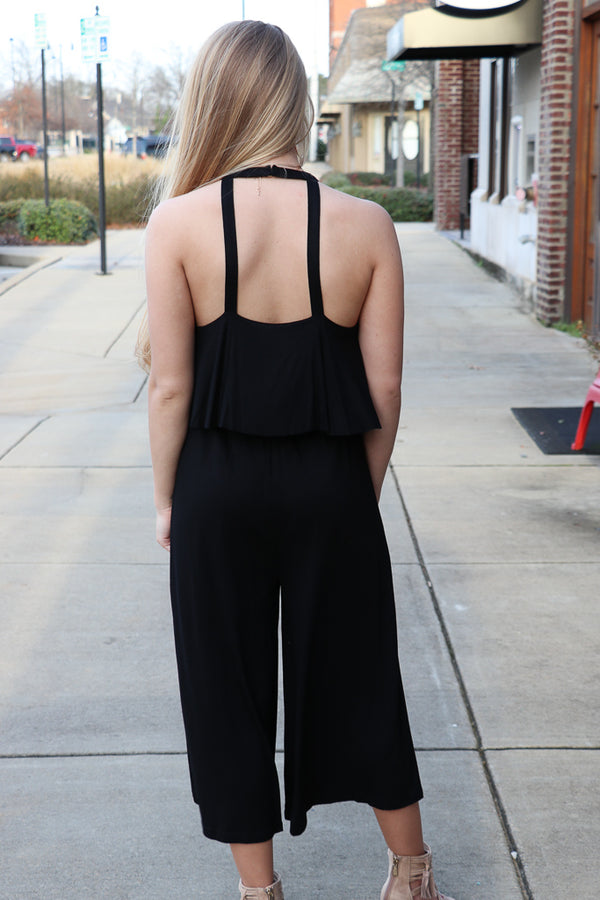 Lace Up Ruffle Jumpsuit - FINAL SALE - Madison + Mallory