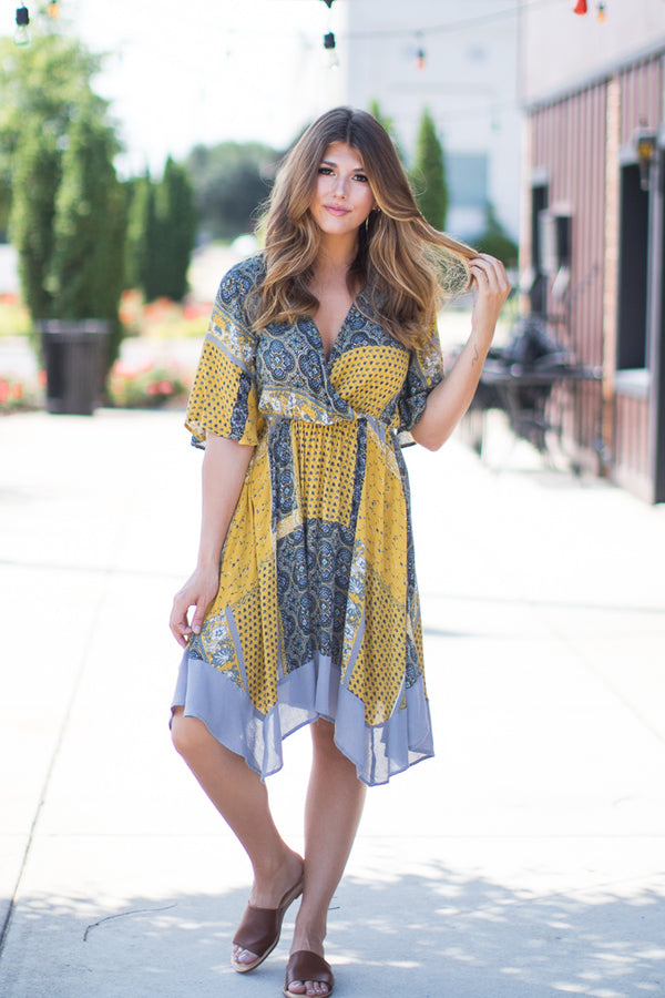 S / Mustard Watch Her Go Bandana Dress | CURVE - Madison + Mallory
