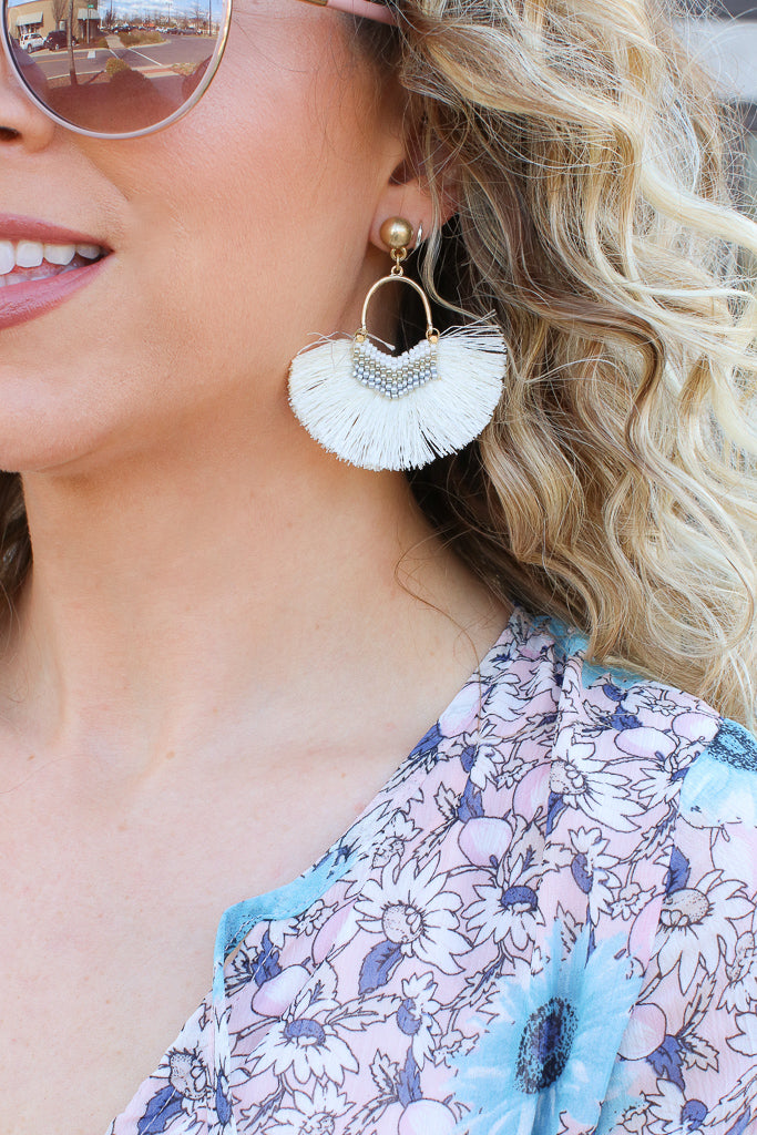 OS / Ivory Island Vista Tassel Fan Earrings - FINAL SALE - Madison + Mallory