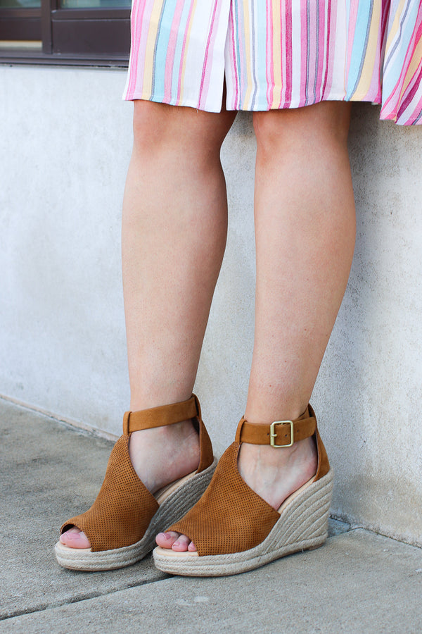 5.5 / Tan Off to Anywhere Espadrille Wedges - FINAL SALE - Madison + Mallory