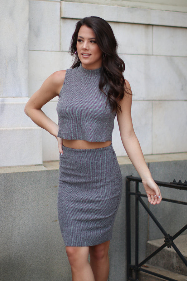 S / Charcoal Ribbed Knit Pencil Skirt - FINAL SALE - Madison + Mallory