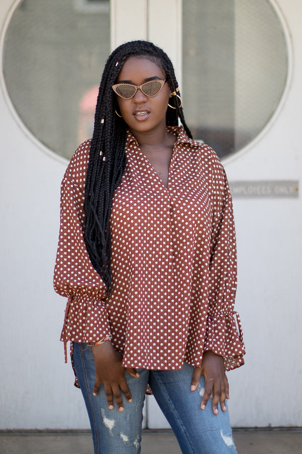 S / Brown Polka Dot Perfection Top | CURVE - FINAL SALE - Madison + Mallory