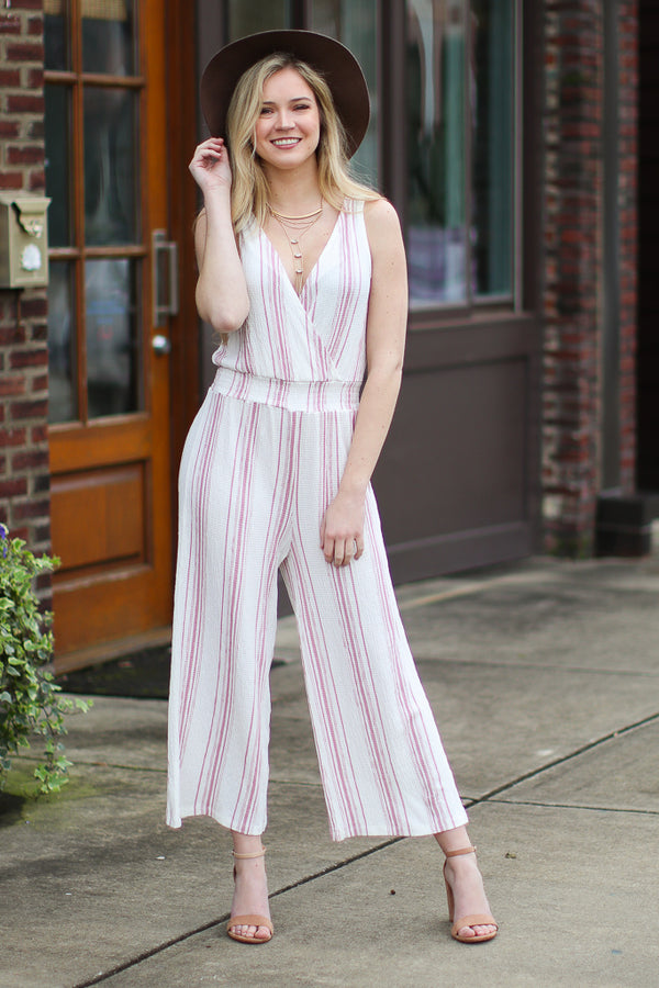M / Pink The Way We Were Striped Jumpsuit - FINAL SALE - Madison + Mallory