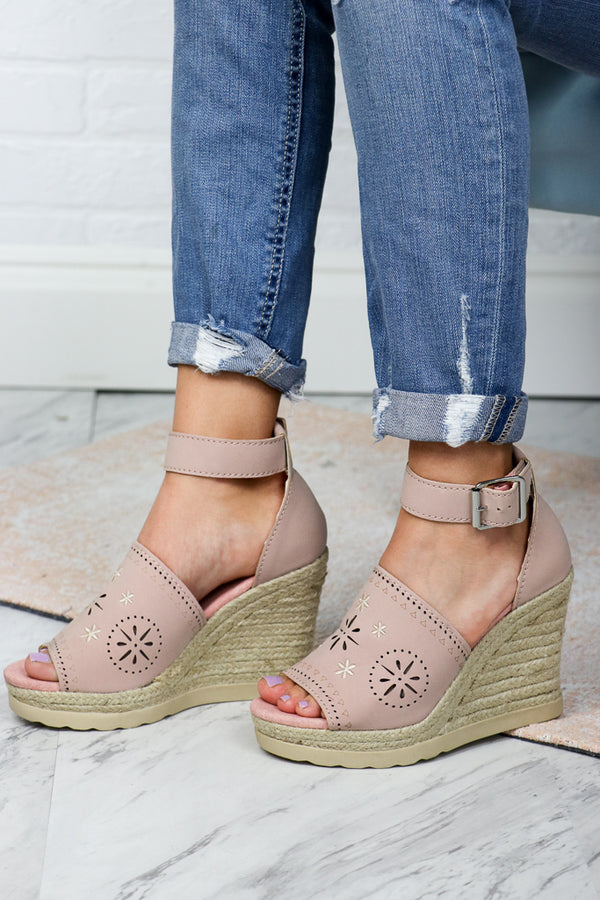 6 / Blush Eyelet Espadrille Wedges - FINAL SALE - Madison + Mallory