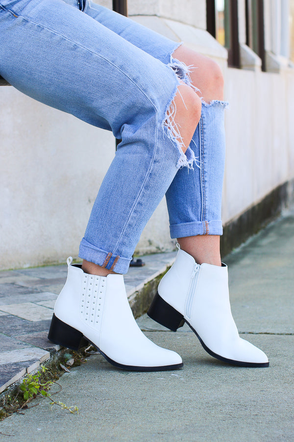 6 / White Take a Chance White Studded Booties - FINAL SALE - Madison + Mallory