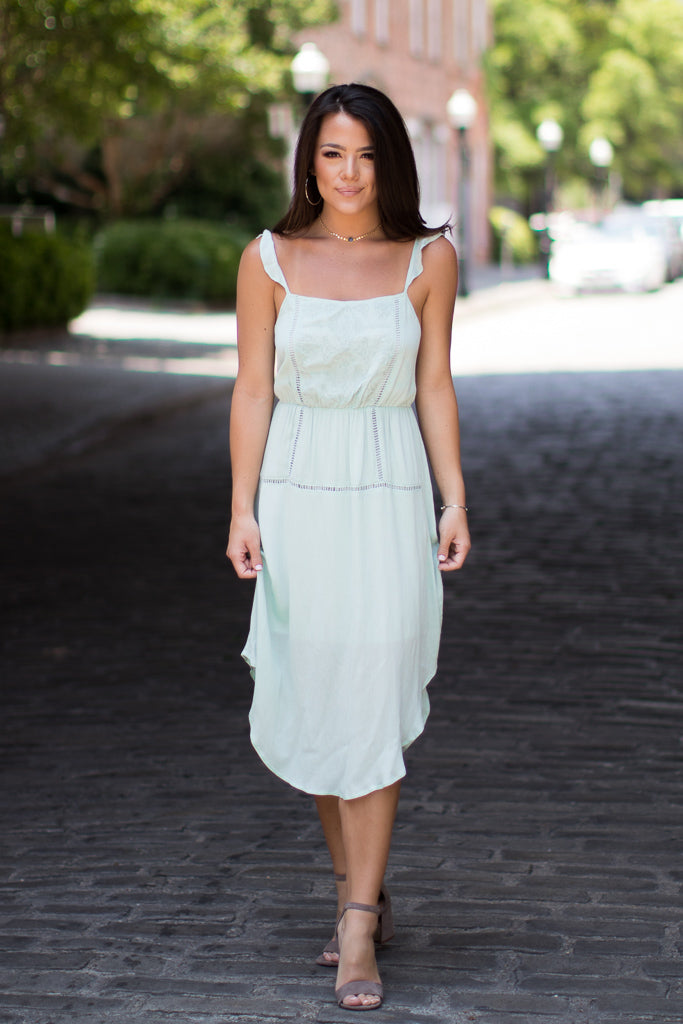 S / Mint Embroidered Detail Dress - FINAL SALE - Madison + Mallory