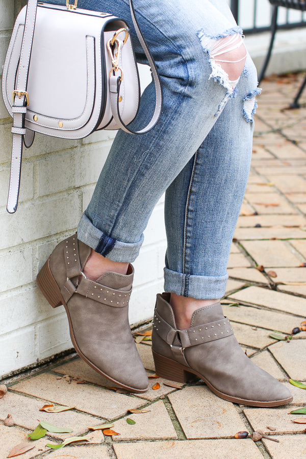 5.5 / Taupe Never be the Same Buckle Booties - FINAL SALE - Madison + Mallory