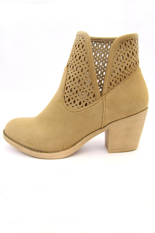 Laser Cut Stacked Heel Booties - FINAL SALE - Madison + Mallory