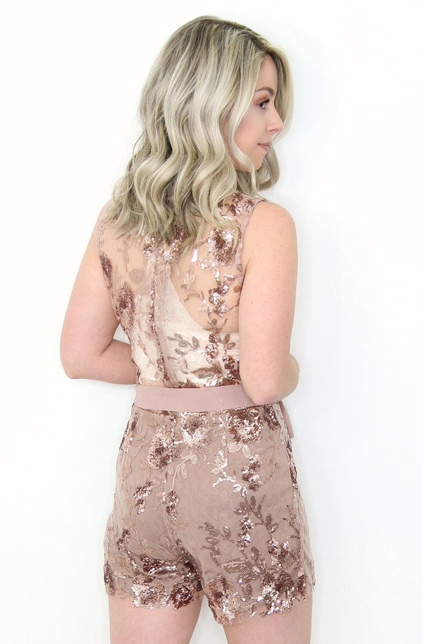 S / Rose Gold Sequin Floral Sequined Romper - FINAL SALE - Madison + Mallory