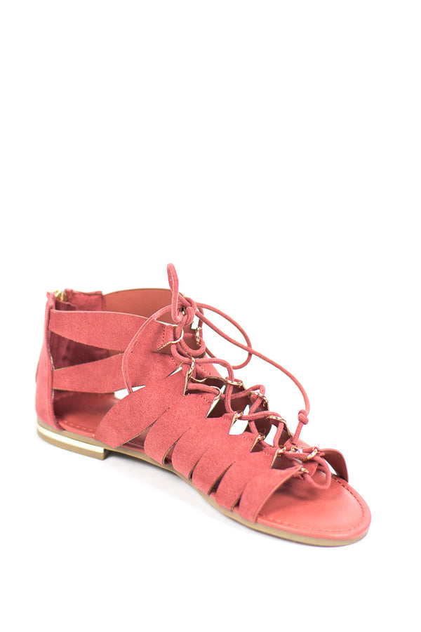 7 / Mauve Lace-Up Flat Sandal - FINAL SALE - Madison + Mallory