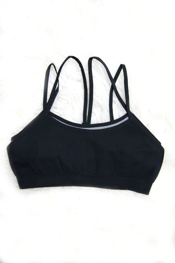 XS/S / Black Two Layer Sports Bra + MORE COLORS - FINAL SALE - Madison + Mallory