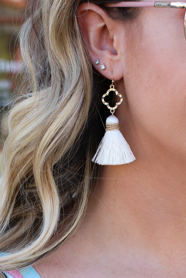 OS / Ivory Gilded Grace Tassel Earrings - FINAL SALE - Madison + Mallory