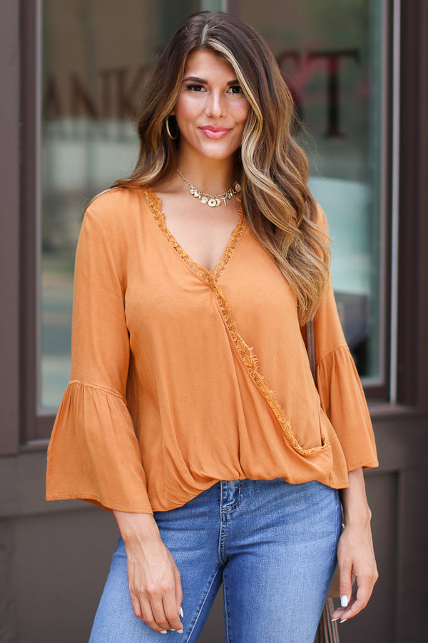 S / Ginger Worth the Wait Lace Surplice Top - Madison + Mallory