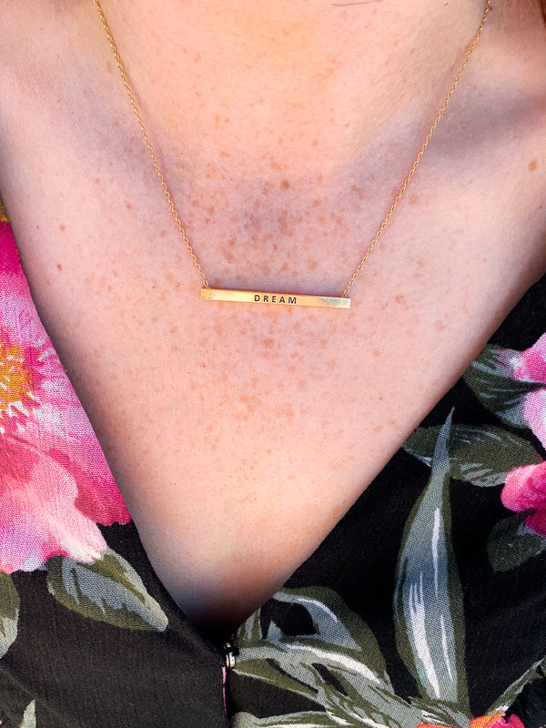Gold Dream Bar Necklace - Madison + Mallory