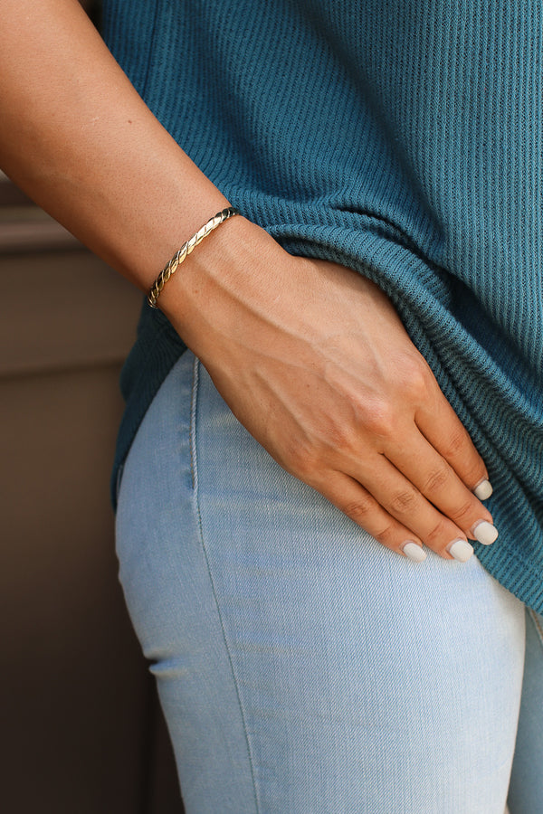 Gold Twist Like This Cuff Bracelet - Madison + Mallory