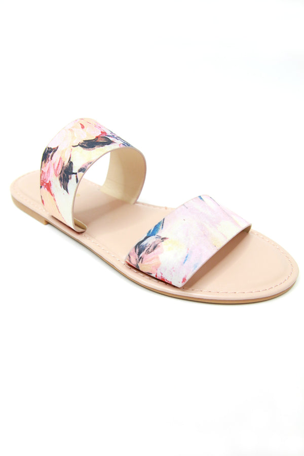 7 / Blush Watercolor Double Band Slide Sandals - FINAL SALE - Madison + Mallory