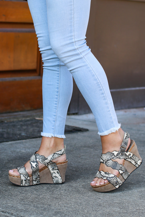 Taya Snake Strappy Wedges - Madison + Mallory