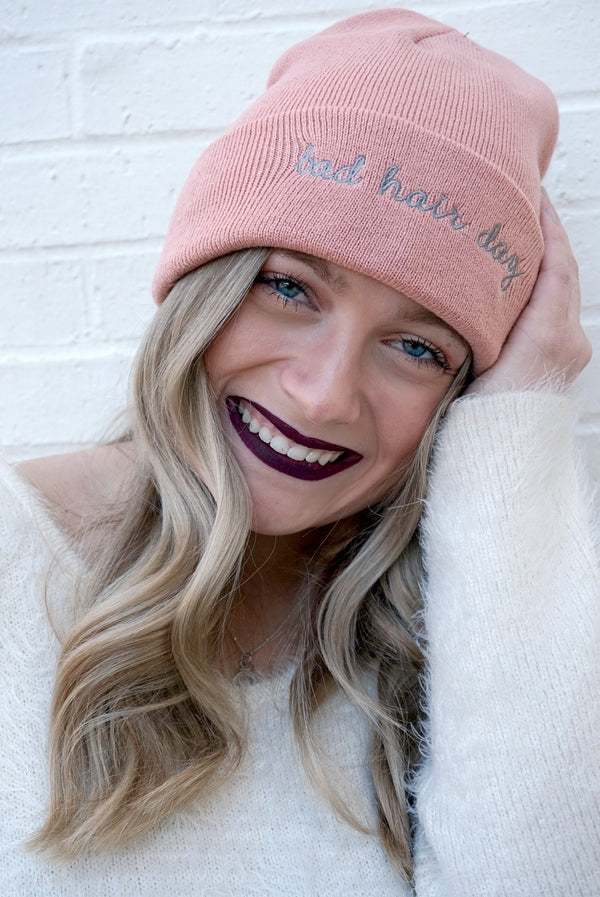 Light Pink Bad Hair Day Knit Beanie + MORE COLORS - FINAL SALE - Madison + Mallory