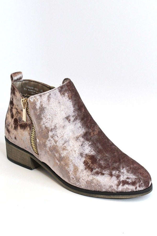 6 / Mauve Velvet Velvet Booties - FINAL SALE - Madison + Mallory