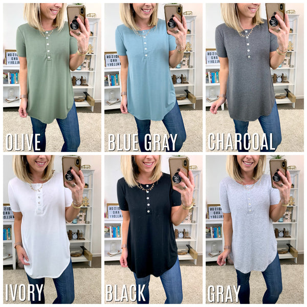 Moving On Henley Button Top - Madison + Mallory