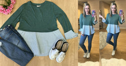 XS / Kale Green Striped Peplum Layered Look Top - Madison + Mallory
