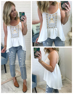 Flowy Embroidered Tank Top - Madison + Mallory