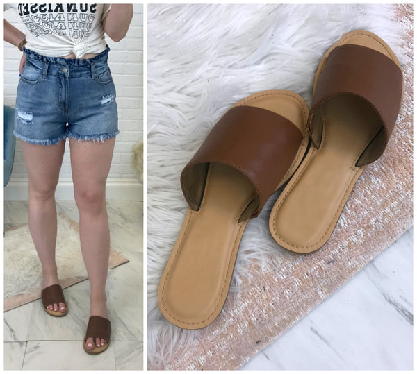 Natalie Cognac Slides - Madison + Mallory