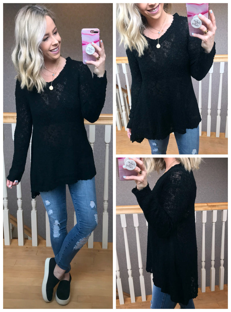 V-Neck Open Knit Sweater - Madison + Mallory