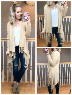 Fringe Trim Flyaway Cardigan - Madison + Mallory
