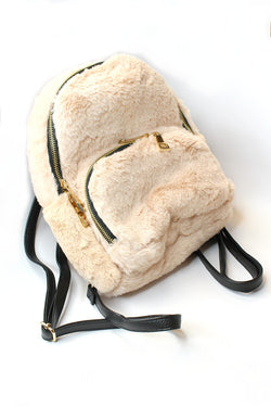 Cream Faux Fur Gold Zip Backpack - FINAL SALE - Madison + Mallory
