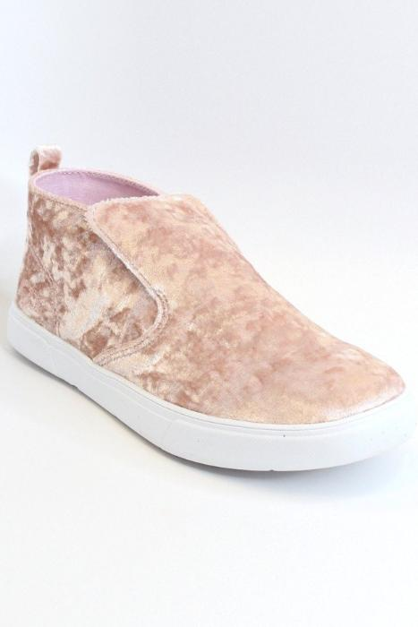 6 / Pink Velvet Sneakers - FINAL SALE - Madison + Mallory
