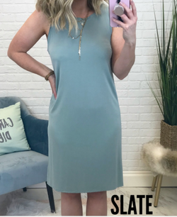 Slate / S Olivia Tank Dress - Madison + Mallory