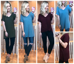 Melanie Rolled Sleeve Top - Madison + Mallory