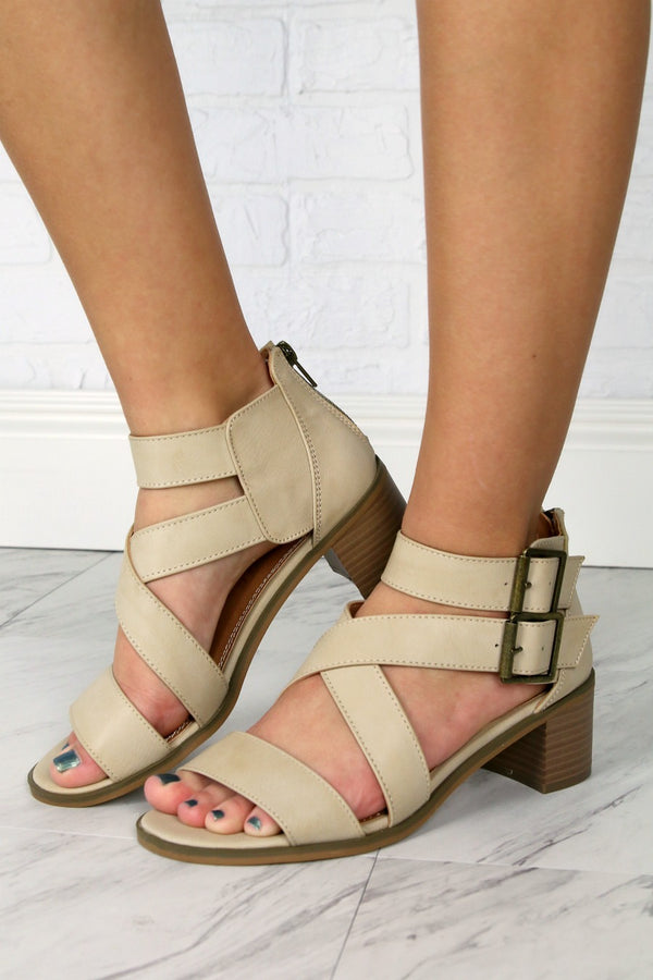 6 / Taupe Havarti Taupe Strappy Block Sandal - FINAL SALE - Madison + Mallory