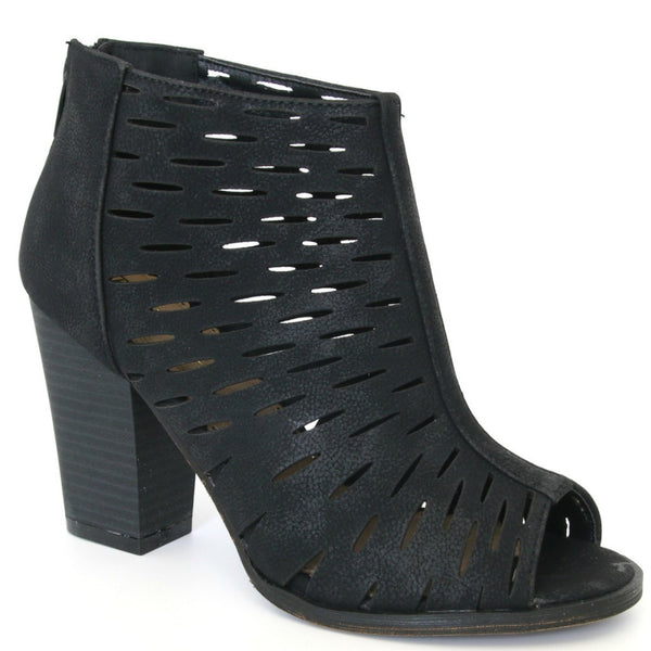 6 / Black Laser Cut Stacked Heel - FINAL SALE - Madison + Mallory