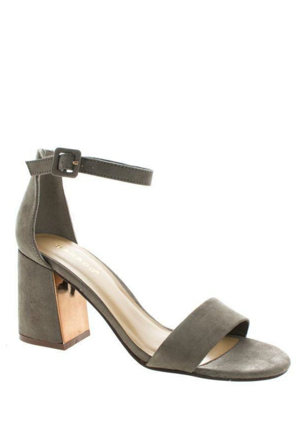6 / Taupe Keep Dancing Gold Detail Heels - Madison + Mallory