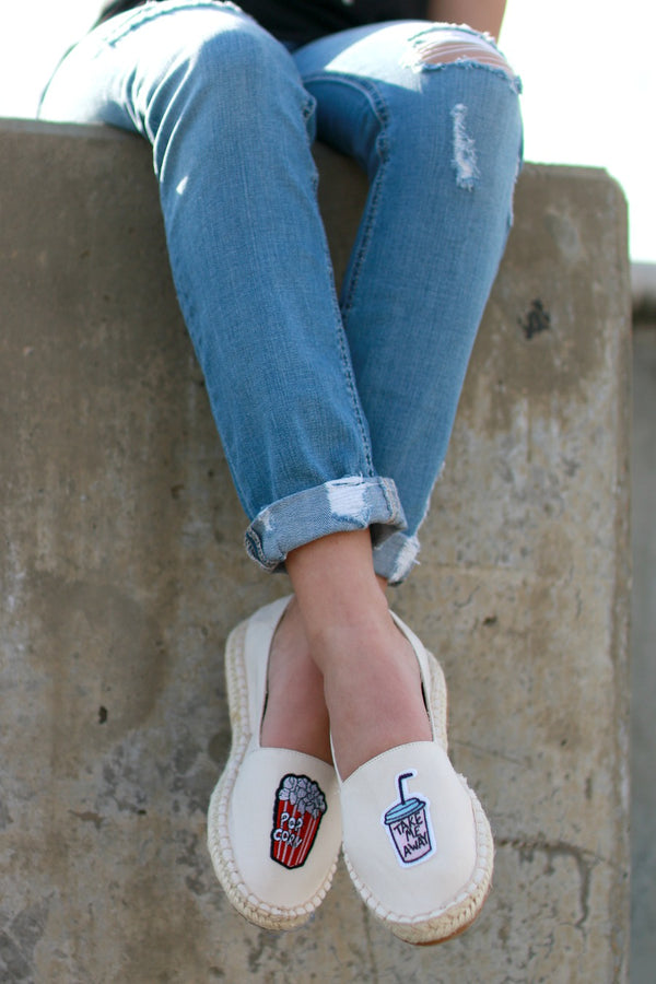 6 / Beige Patched Espadrilles - FINAL SALE - Madison + Mallory