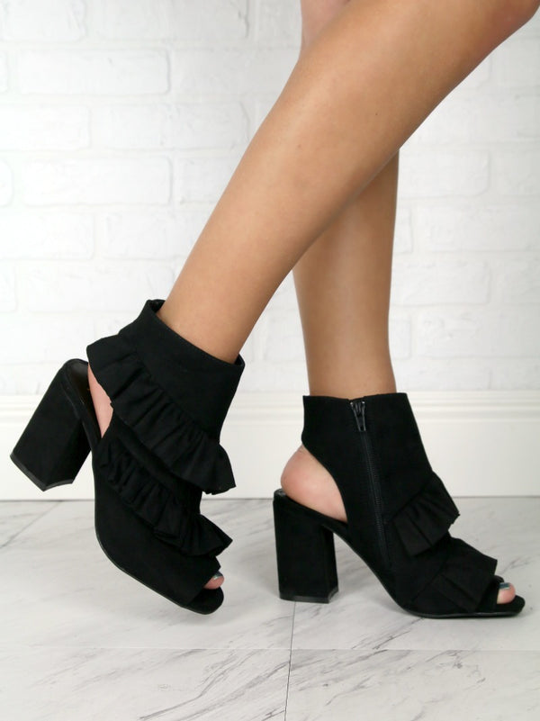 6 / Black Ruffled Peep Toe Booties - FINAL SALE - Madison + Mallory