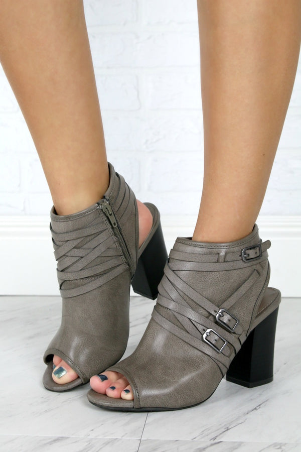 Buckled Peep Toe Heeled Booties - FINAL SALE - Madison + Mallory