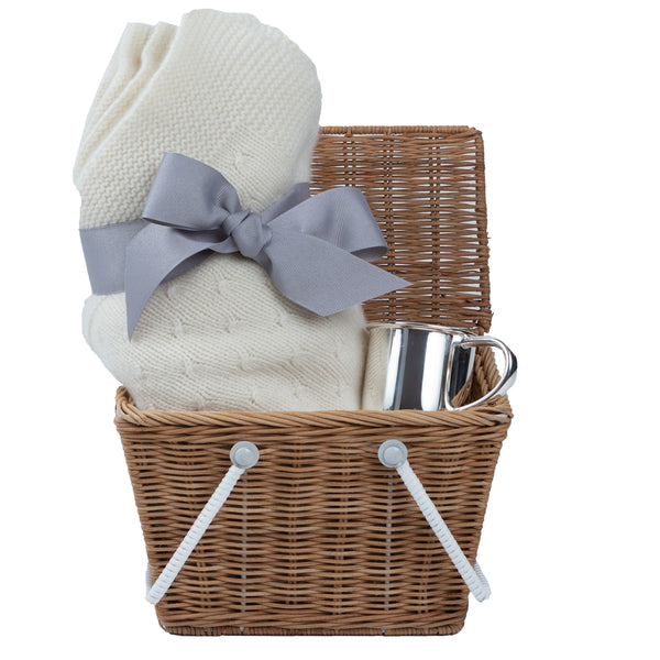 luxury baby gift basket, cashmere blanket and silver baby cup
