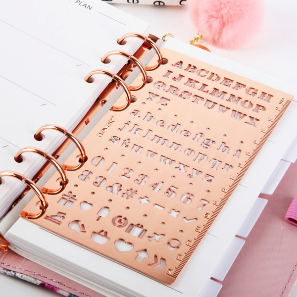 Rose Gold Planner Stencil & Ruler
