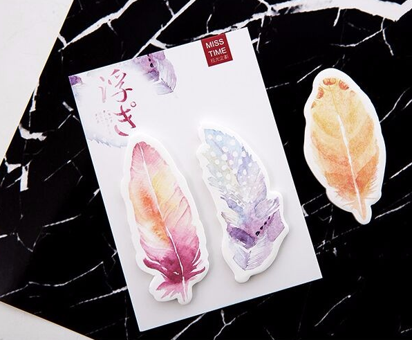 Watercolor Feather Sticky Bookmarks 4