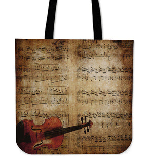 Shopeholic:Sheet Music & Violion Tote Bag