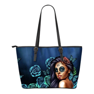 Shopeholic:Calavera Girl - Small Leather Tote Bags