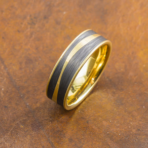 men's yellow gold and carbon wedding band perth